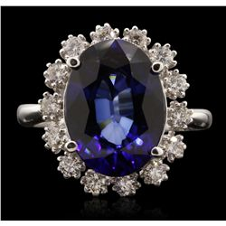 14KT White Gold 7.12ct Sapphire and Diamond Ring A7035
