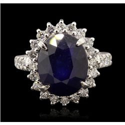 14KT White Gold 8.50ct Sapphire and Diamond Ring A7111