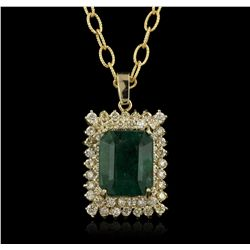 14KT White Gold 11.99ct GIA Certified Emerald and Diamond Pendant With Chain A5919
