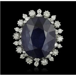 14KT White Gold 13.35ct Sapphire and Diamond Ring A5206