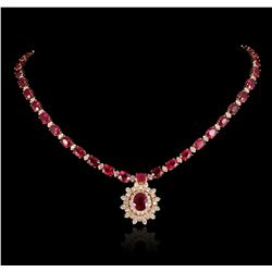 14KT Yellow Gold 41.90ctw Ruby and Diamond Necklace A5445