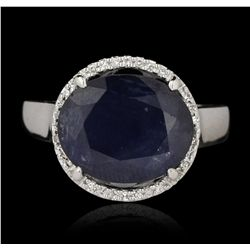 14KT White Gold 6.72ct Sapphire and Diamond Ring GB3255