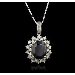 14KT White Gold 5.93ct Sapphire and Diamond Pendant With Chain RM1773