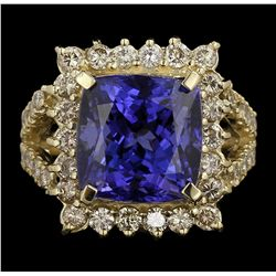 14KT Yellow Gold 10.28ct GIA Cert Tanzanite and Diamond Ring A6393