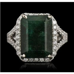 14KT White Gold 8.01ct Emerald & Diamond Ring A5826