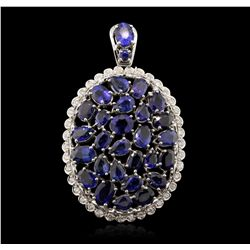 14KT White Gold 17.00ctw Sapphire and Diamond Pendant A7168
