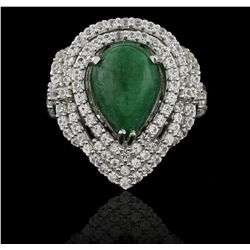 SILVER 4.83ctw Emerald and White Sapphire Ring RM1312