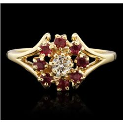 14KT Yellow Gold 0.40ct Ruby and Diamond Ring A6797