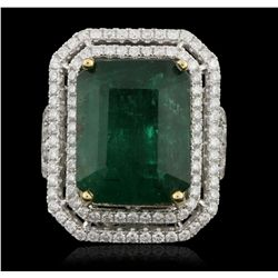 14KT White Gold 15.29ct GIA Certified Emerald and Diamond Ring A5886