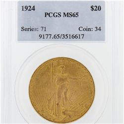 1924 PCGS MS65 St. Gaudens Double Eagle Gold Coin DaveF1661