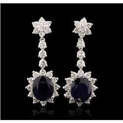 14KT White Gold 9.42ct Sapphire and Diamond Earrings A7119