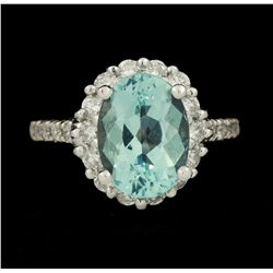 14KT White Gold 3.46ct Aquamarine and Diamond Ring GB1941