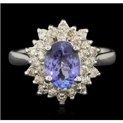 14KT White Gold 1.29ct Tanzanite and Diamond Ring A6173