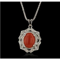 14KT White Gold 3.18ct Coral and Diamond Pendant With Chain A6110