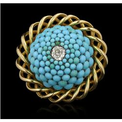 14KT Yellow Gold 3.00ctw Turquoise and Diamond Ring GB3585