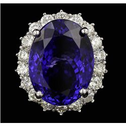14KT White Gold 21.99ct GIA Certified Tanzanite and Diamond Ring  A5991