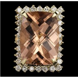 14KT Yellow Gold 22.34ct GIA Cert Morganite and Diamond Ring A6392