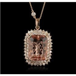 14KT Rose Gold 21.52ct GIA Cert Morganite and Diamond Pendant With Chain A6306