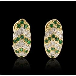 14KT Yellow Gold 0.85ctw Emerald and Diamond Earrings A4379