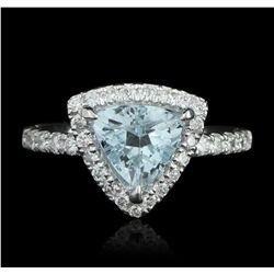 14KT White Gold 1.39ct Aquamarine & Diamond Ring A5633