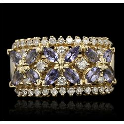 14KT Yellow Gold 1.03ctw Tanzanite and Diamond Ring A6800