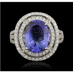 14KT White Gold 4.60ct Tanzanite and Diamond Ring A6031