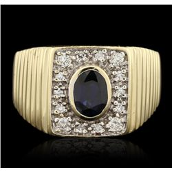 14KT Yellow Gold 1.00ct Sapphire and Diamond Ring GB4356