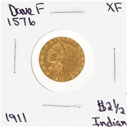 1911 $2 1/2 XF Indian Head Quarter Eagle Gold Coin DAVEF1576