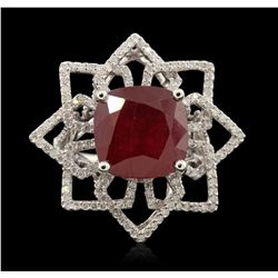 14KT White Gold 11.02ct Ruby and Diamond Ring A6700