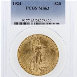 1924 $20 PCGS MS63 St. Gaudens Double Eagle Gold Coin GCE359
