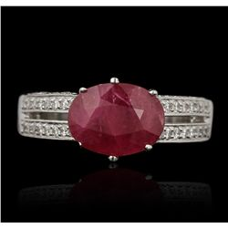 18KT White Gold 3.55ct Ruby and Diamond Ring GB3560