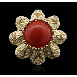 14KT Yellow Gold 9.36ct Coral and Diamond Ring A7152