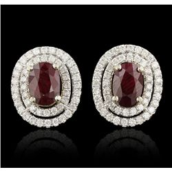 14KT Two Tone Gold 1.46ctw Ruby and Diamond Earrings A6831