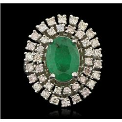 14KT White Gold 2.56ct Emerald and Diamond Ring A6325