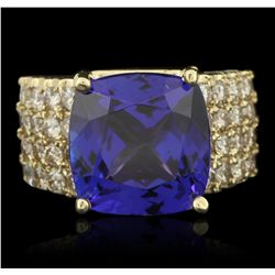 14KT Yellow Gold 8.43ct GIA Cert Tanzanite and Diamond Ring A6412