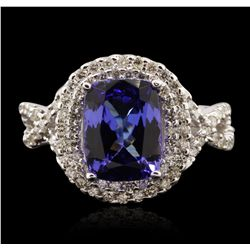 14KT White Gold 3.26ct Tanzanite and Diamond Ring A7020