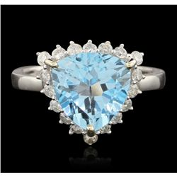 14KT White Gold 4.12ct Blue Topaz and Diamond Ring A6558