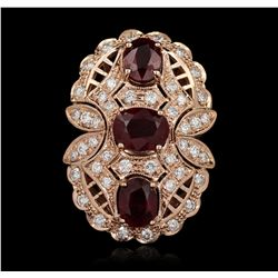 14KT Rose Gold 6.58ctw Ruby and Diamond Ring A5408