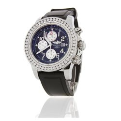 Gents Stainless Steel Breitling Super Avenger Wristwatch w/ Diamonds A5996