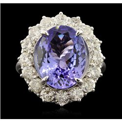 14KT White Gold 6.93ct Tanzanite and Diamond Ring A6612