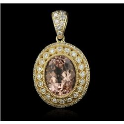 14KT Yellow Gold 10.71ct Morganite and Diamond Pendant A7178