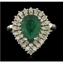 14KT White Gold 2.28ct Emerald and Diamond Ring A6137