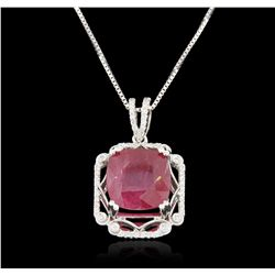 18KT White Gold 12.81ct Ruby and Diamond Pendant With Chain GB3567