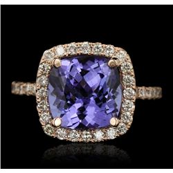 14KT Rose Gold 3.68ct Tanzanite and Diamond Ring A6639