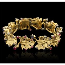 18KT Yellow Gold 3.30ctw Sapphire and Ruby Bracelet A6480