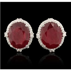 18KT White Gold 10.81ctw Ruby and Diamond Earrings A6711
