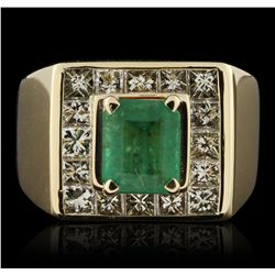 14KT Yellow Gold 2.33ct Emerald and Diamond Ring GB4110