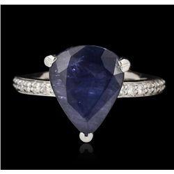 14KT White Gold 5.06ct Sapphire and Diamond Ring GB3257