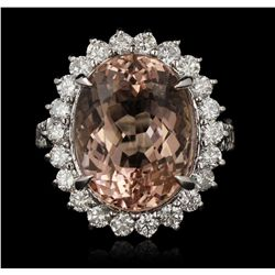 14KT White Gold 10.82ct Morganite and Diamond Ring A7180
