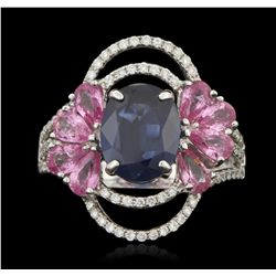 18KT White Gold 3.18ct Sapphire and Diamond Ring FJM3211